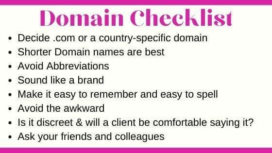 Use our Checklist to help choose a domain